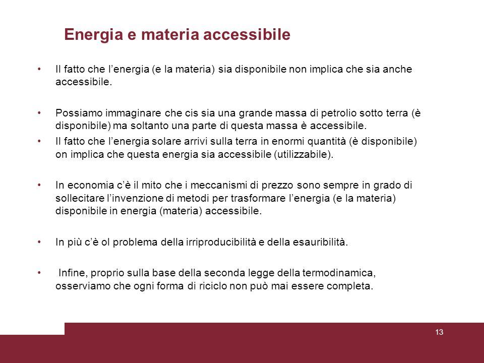 Energia e materia accessibile Il fatto che l'energia (e la materia) sia disponibile non implica che sia anche accessibile.