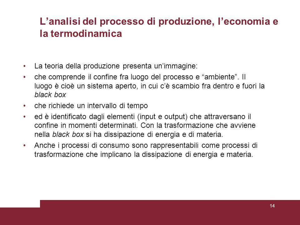 L'analisi del processo di produzione, l'economia e la termodinamica La teoria della produzione presenta un'immagine: che comprende il confine fra luogo del processo e ambiente .