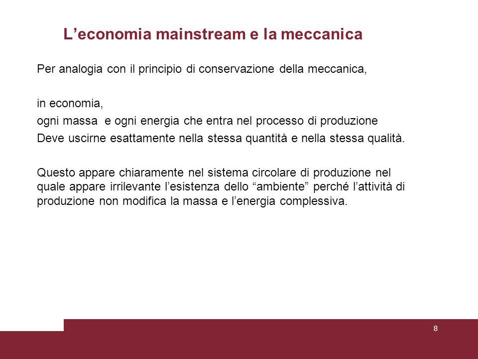 L'economia mainstream e la meccanica Per analogia con il principio di conservazione della meccanica, in economia, ogni massa e ogni energia che entra nel processo di produzione Deve uscirne esattamente nella stessa quantità e nella stessa qualità.