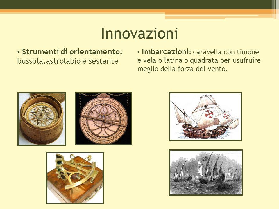 Innovazioni Strumenti di orientamento: bussola,astrolabio e sestante Imbarcazioni : caravella con timone e vela o latina o quadrata per usufruire megl