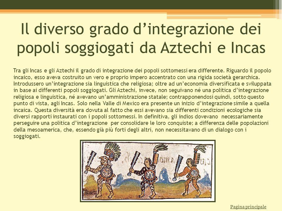 Il diverso grado d'integrazione dei popoli soggiogati da Aztechi e Incas Tra gli Incas e gli Aztechi il grado di integrazione dei popoli sottomessi er