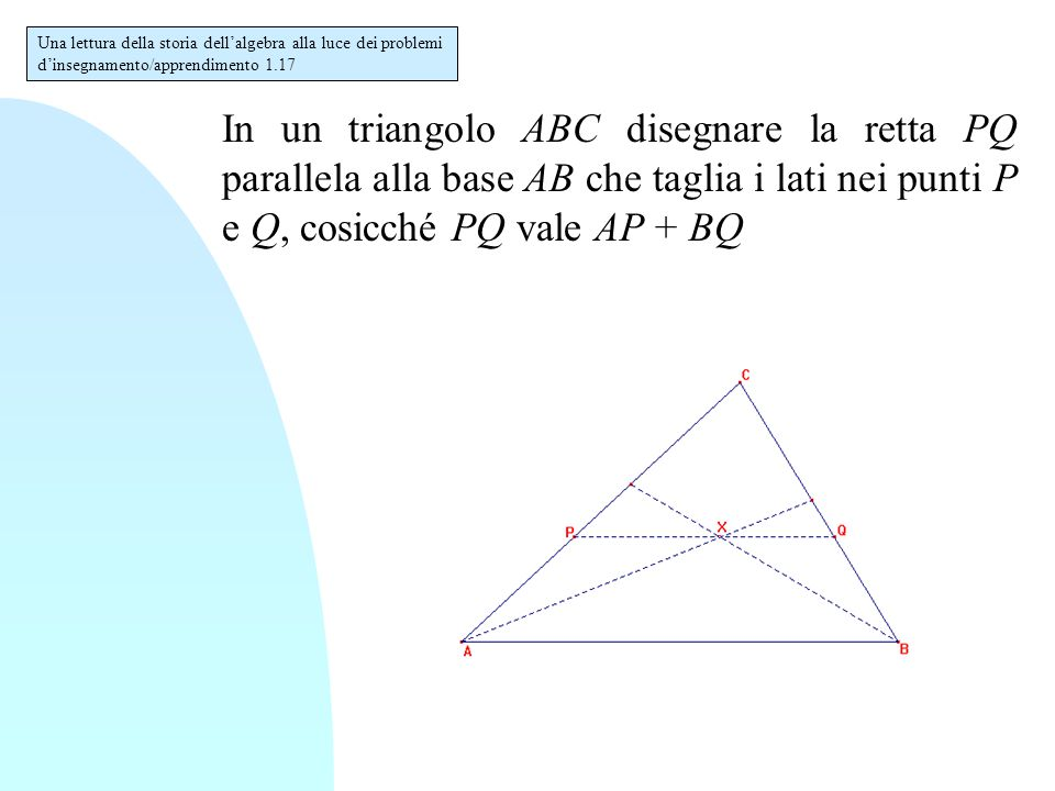 In un triangolo ABC disegnare la retta PQ parallela alla base AB che taglia i lati nei punti P e Q, cosicché PQ vale AP + BQ Una lettura della storia dell'algebra alla luce dei problemi d'insegnamento/apprendimento 1.17