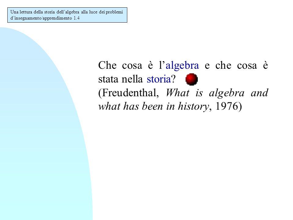 Che cosa è l'algebra e che cosa è stata nella storia.