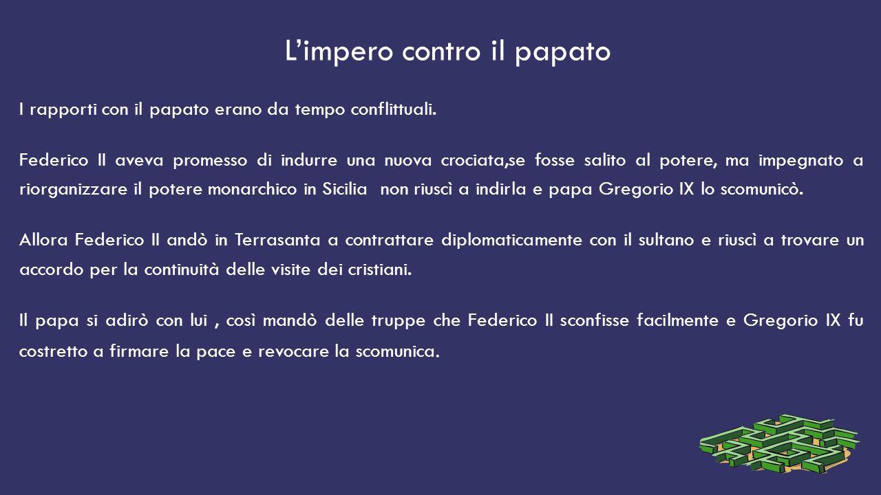 L'impero contro il papato I rapporti con il papato erano da tempo conflittuali.
