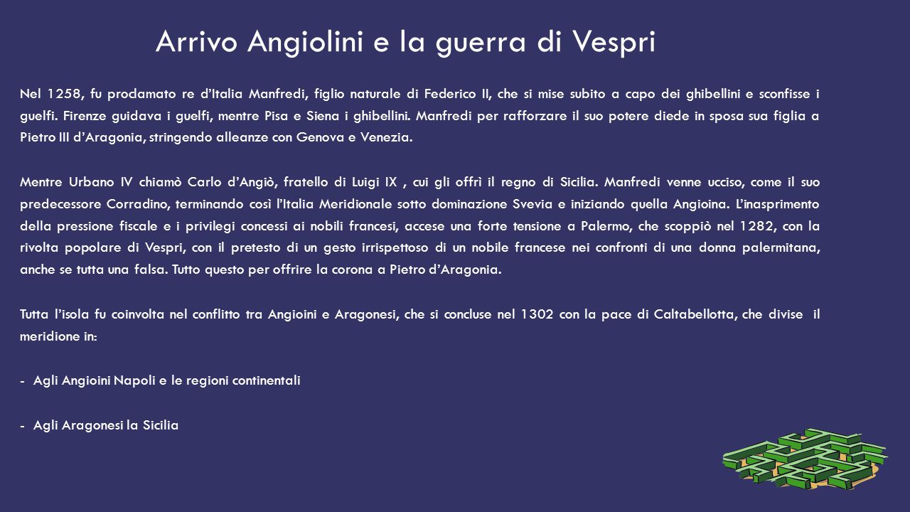 Arrivo Angiolini e la guerra di Vespri Nel 1258, fu proclamato re d'Italia Manfredi, figlio naturale di Federico II, che si mise subito a capo dei ghibellini e sconfisse i guelfi.