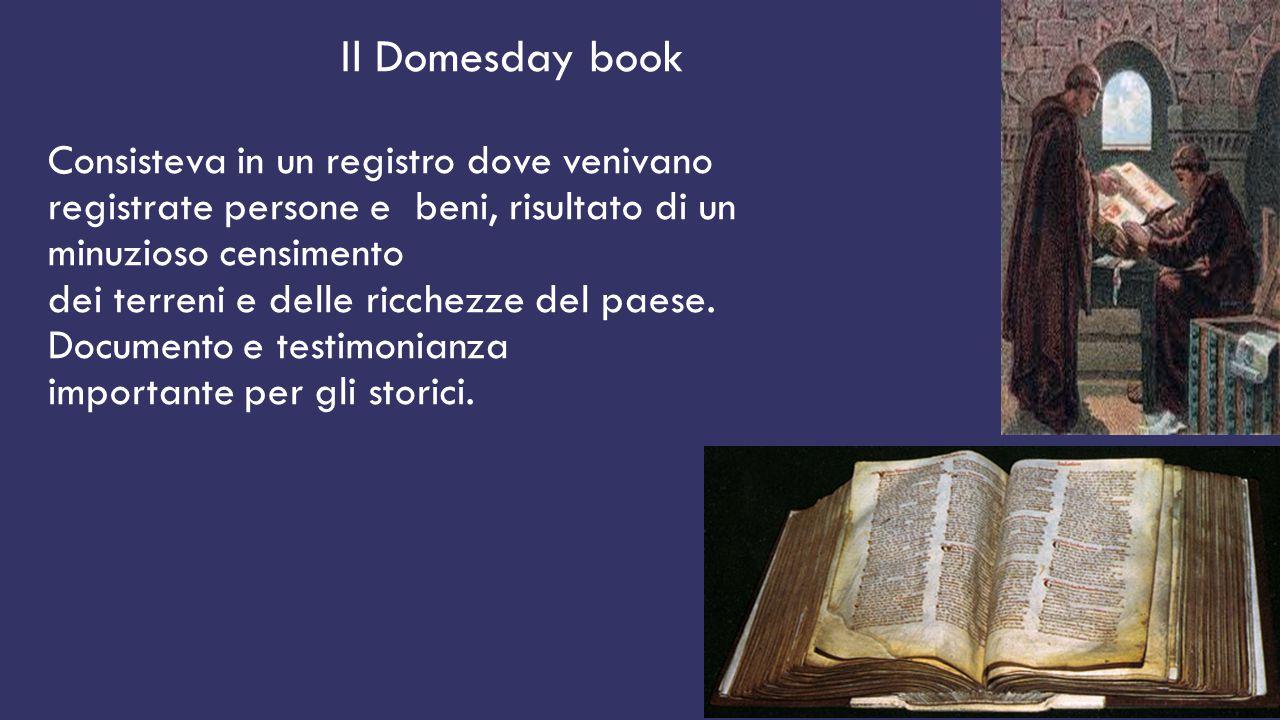 Il Domesday book Consisteva in un registro dove venivano registrate persone e beni, risultato di un minuzioso censimento dei terreni e delle ricchezze del paese.