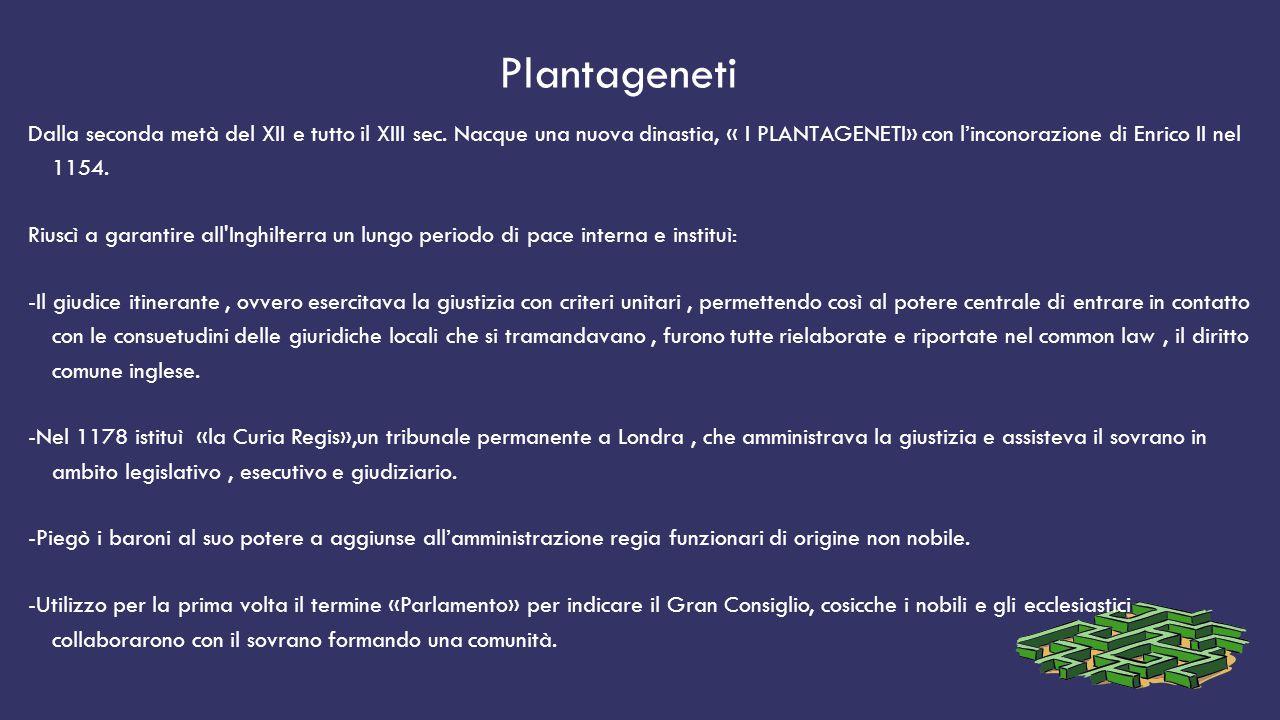 Plantageneti Dalla seconda metà del XII e tutto il XIII sec. Nacque una nuova dinastia, « I PLANTAGENETI» con l'inconorazione di Enrico II nel 1154. R
