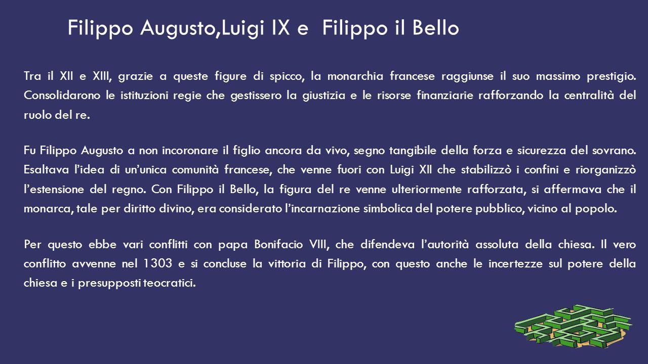 Filippo Augusto,Luigi IX e Filippo il Bello Tra il XII e XIII, grazie a queste figure di spicco, la monarchia francese raggiunse il suo massimo presti