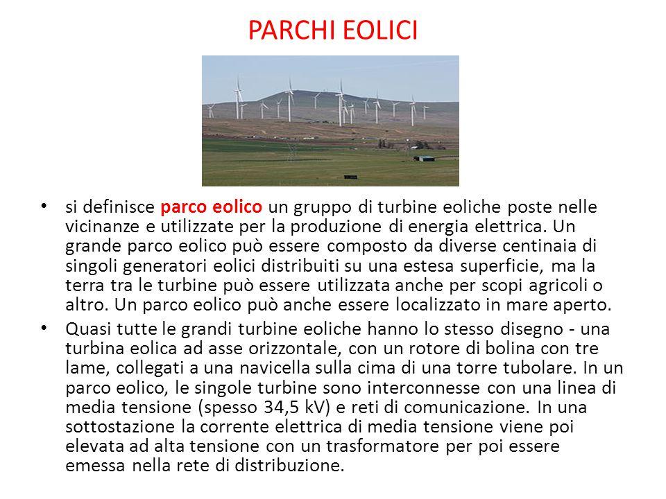 PARCHI EOLICI si definisce parco eolico un gruppo di turbine eoliche poste nelle vicinanze e utilizzate per la produzione di energia elettrica. Un gra