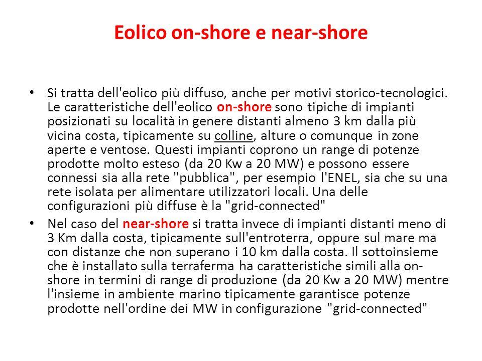 Eolico on-shore e near-shore Si tratta dell'eolico più diffuso, anche per motivi storico-tecnologici. Le caratteristiche dell'eolico on-shore sono tip