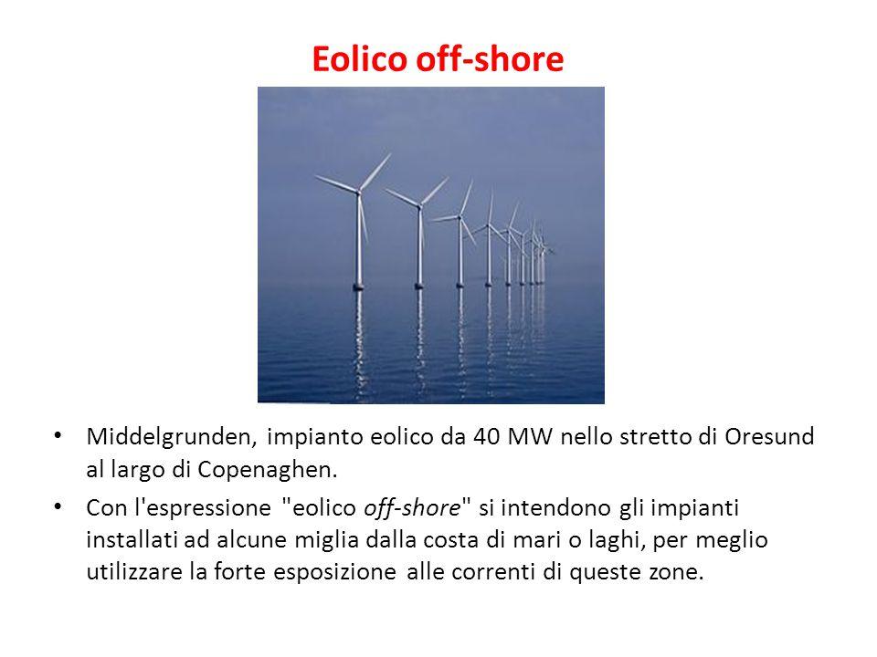 Eolico off-shore Middelgrunden, impianto eolico da 40 MW nello stretto di Oresund al largo di Copenaghen. Con l'espressione