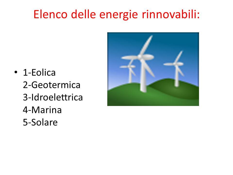 Elenco delle energie rinnovabili: 1-Eolica 2-Geotermica 3-Idroelettrica 4-Marina 5-Solare