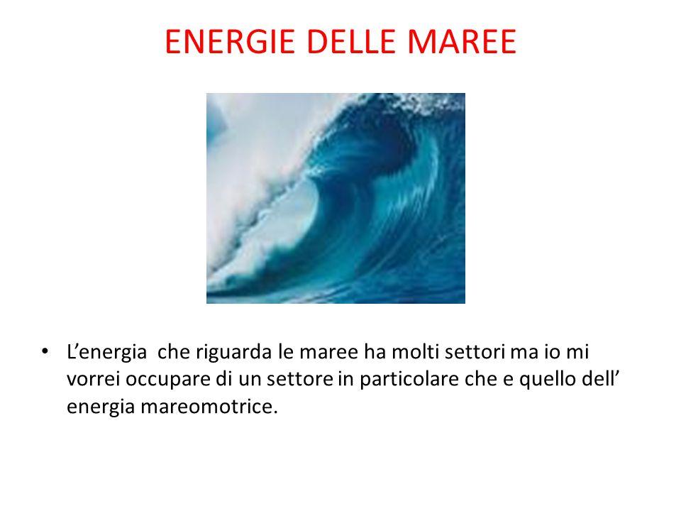 ENERGIE DELLE MAREE L'energia che riguarda le maree ha molti settori ma io mi vorrei occupare di un settore in particolare che e quello dell' energia