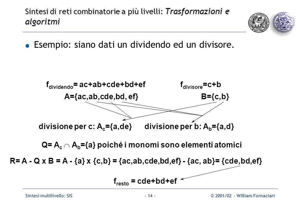 Sintesi multilivello: SIS© 2001/02 - William Fornaciari- 14 - Esempio: siano dati un dividendo ed un divisore.