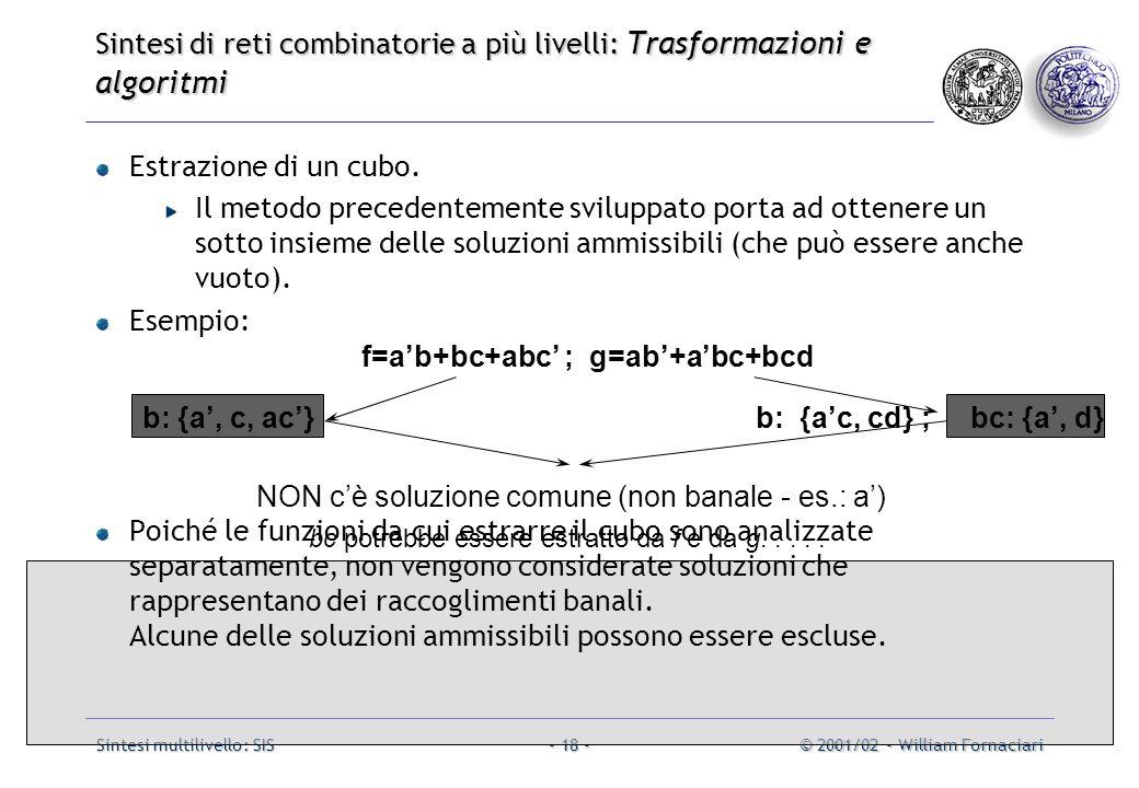 Sintesi multilivello: SIS© 2001/02 - William Fornaciari- 18 - Estrazione di un cubo.