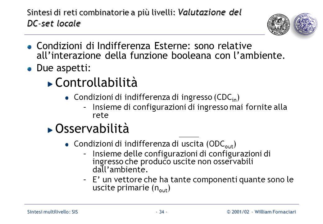 Sintesi multilivello: SIS© 2001/02 - William Fornaciari- 34 - Condizioni di Indifferenza Esterne: sono relative all'interazione della funzione booleana con l'ambiente.