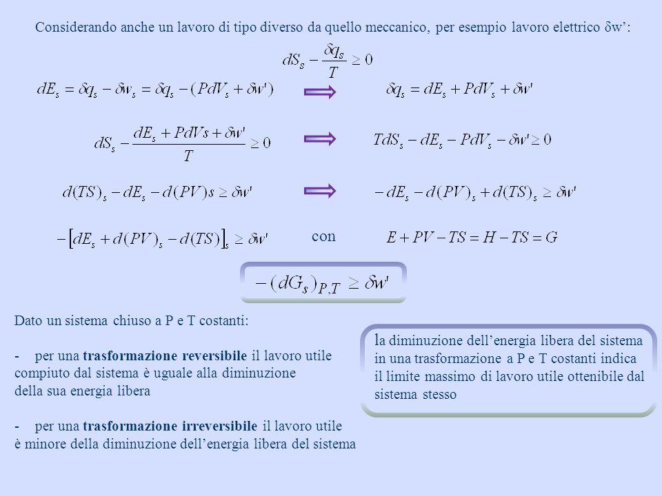 se T = cost Per una variazione finita, a T e P costanti Data una trasformazione chimica: ΔH 0 trasformazione spontanea a qualunque T ΔH < 0 e ΔS < 0trasformazione spontanea solo a basse T trasformazione mai spontaneaΔH > 0 e ΔS < 0 ΔH > 0 e ΔS > 0 trasformazione spontanea solo a T elevate