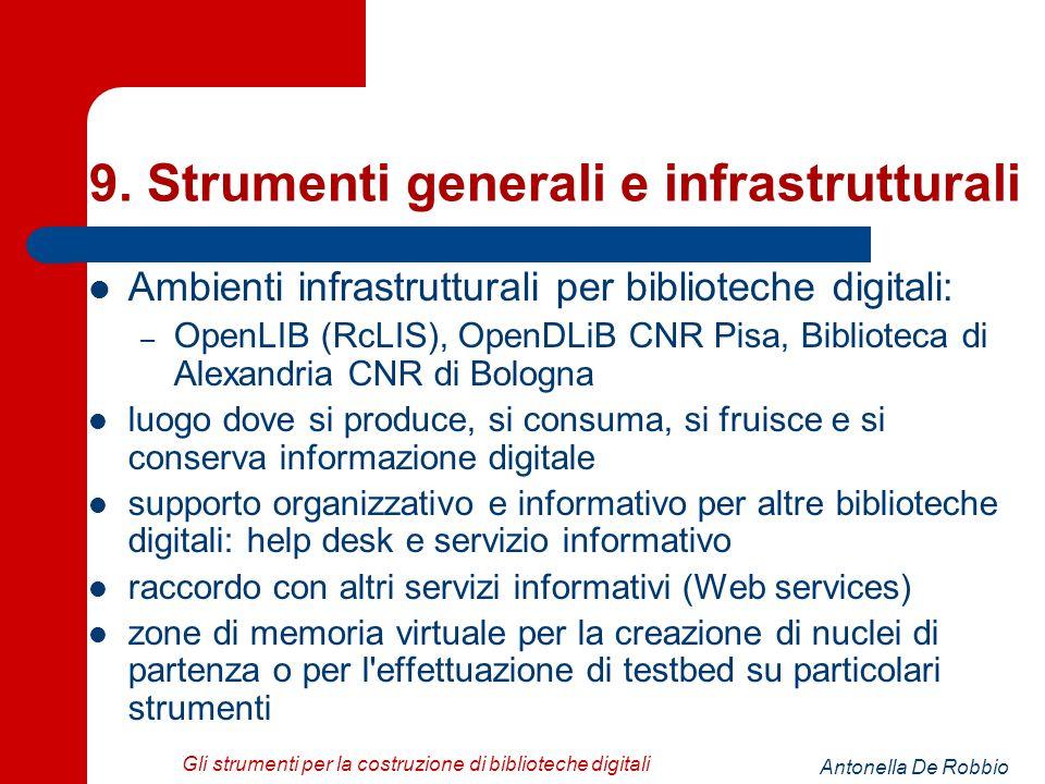 Antonella De Robbio Gli strumenti per la costruzione di biblioteche digitali 9.