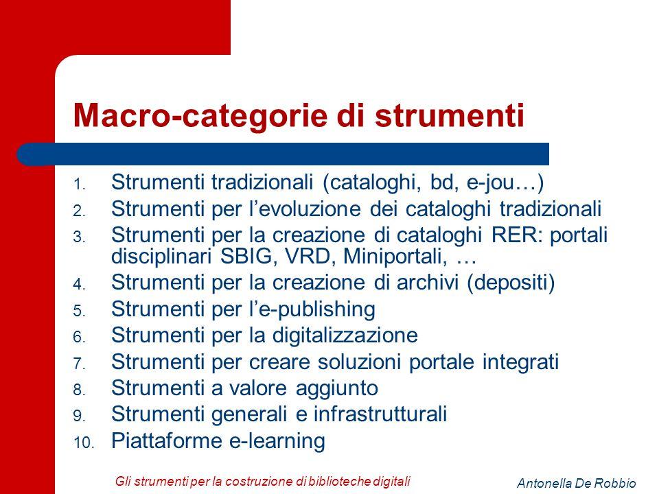 Antonella De Robbio Gli strumenti per la costruzione di biblioteche digitali Macro-categorie di strumenti 1.