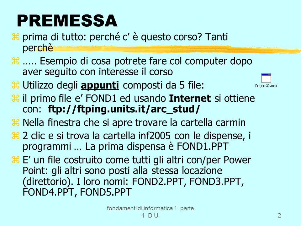 fondamenti di informatica 1 parte 1 D.U.53 C od ifica/Decod.