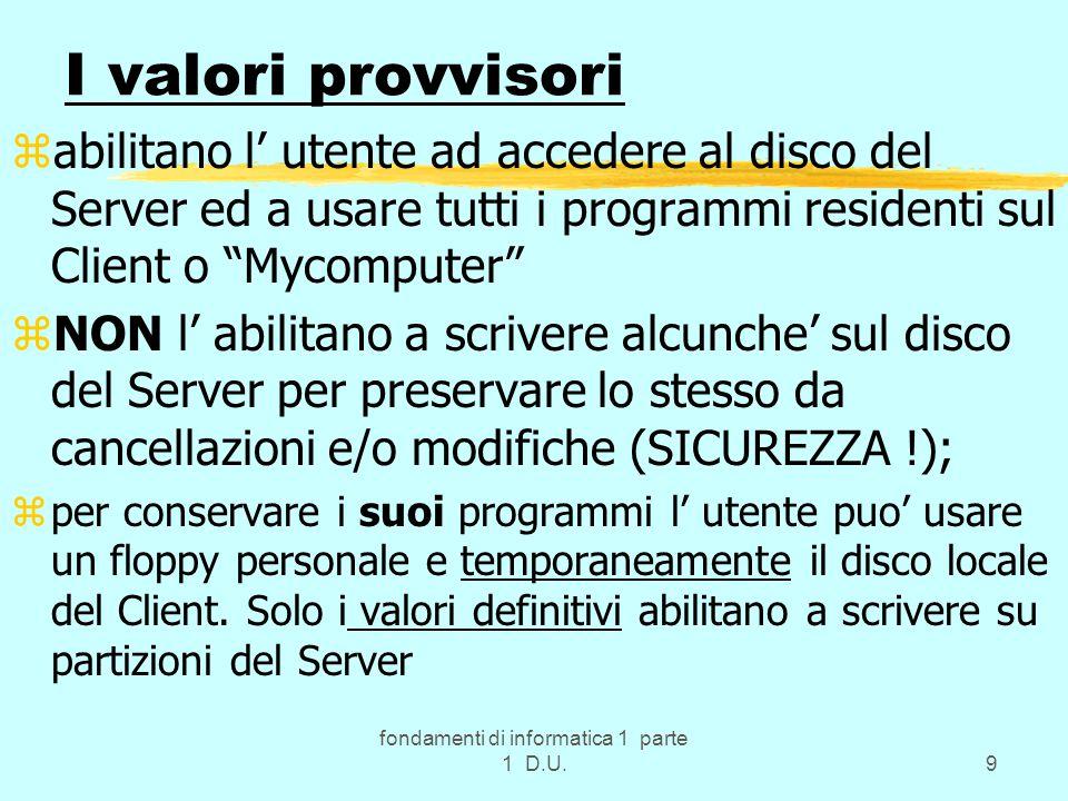 fondamenti di informatica 1 parte 1 D.U.50 nota z….