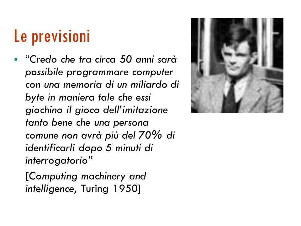 Capacità di simulazione Il test di Turing (1950)