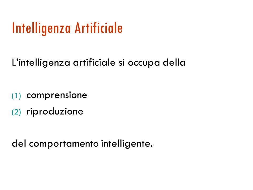 Intelligenza Artificiale L'intelligenza artificiale si occupa della (1) comprensione (2) riproduzione del comportamento intelligente.