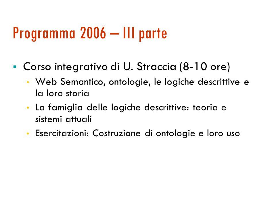 Programma 2006 – II parte  Rappresentazione della conoscenza e ragionamento (10 ore + 10 esercitazione)  Motivazioni e questioni basilari nella rappresentazione della conoscenza  Il calcolo proposizionale e la soddisfacibilità  Il calcolo dei predicati  Metodo di risoluzione e programmazione logica