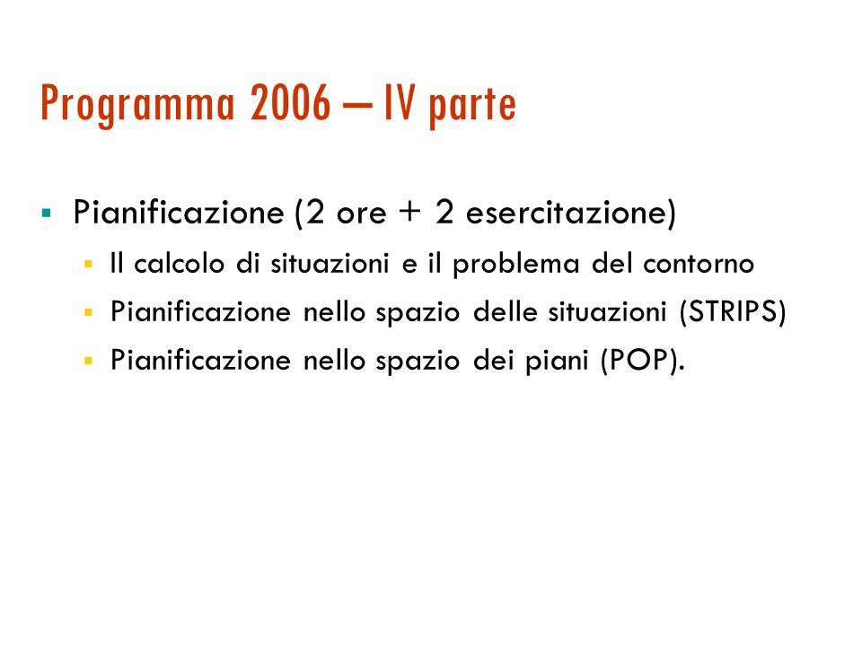 Programma 2006 – III parte  Corso integrativo di U.