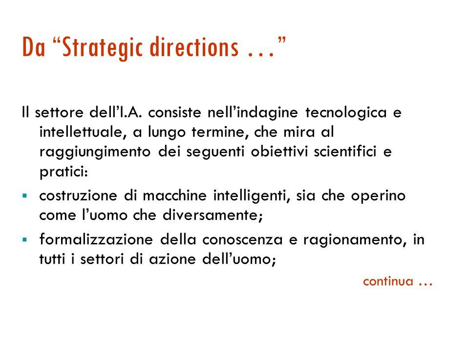 Da Strategic directions … Il settore dell'I.A.