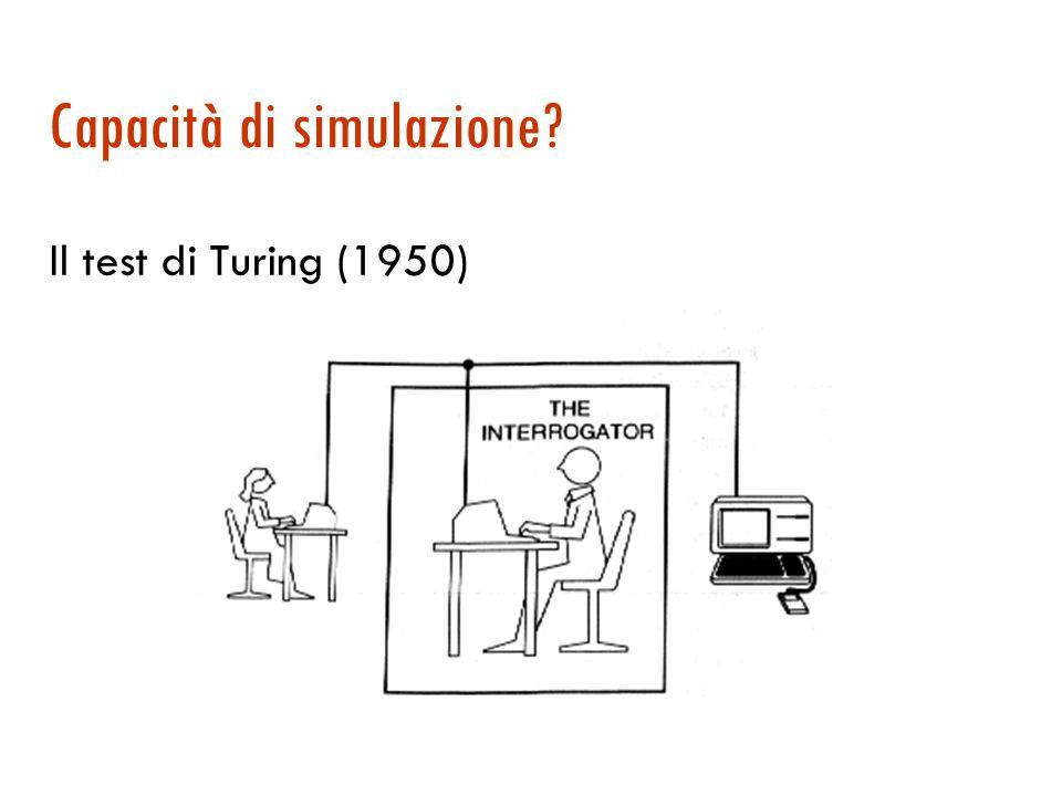 Capacità di simulazione? Il test di Turing (1950)