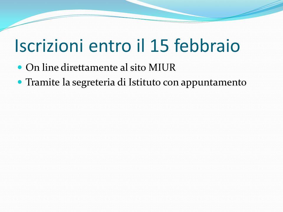 Iscrizioni entro il 15 febbraio On line direttamente al sito MIUR Tramite la segreteria di Istituto con appuntamento
