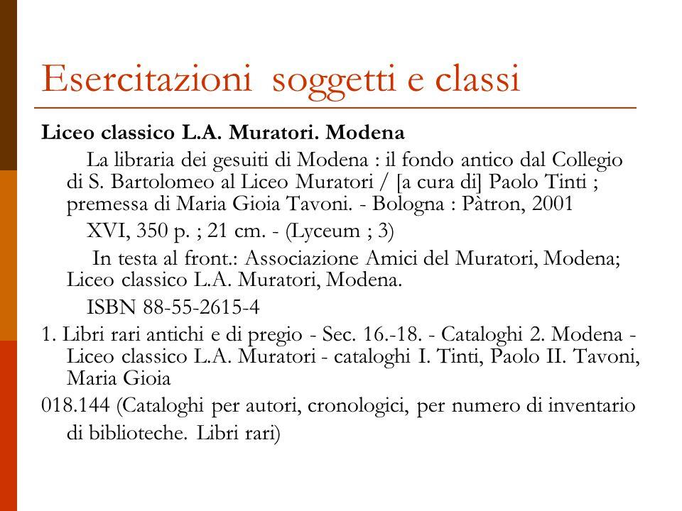 Esercitazioni soggetti e classi Liceo classico L.A.