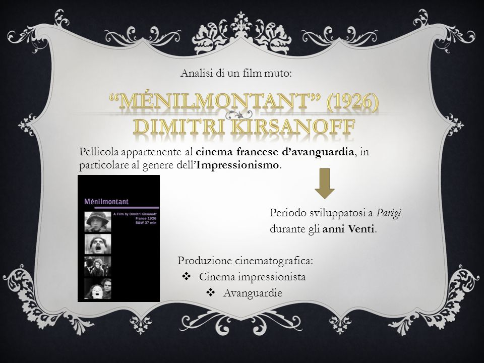 Pellicola appartenente al cinema francese d'avanguardia, in particolare al genere dell'Impressionismo. Periodo sviluppatosi a Parigi durante gli anni