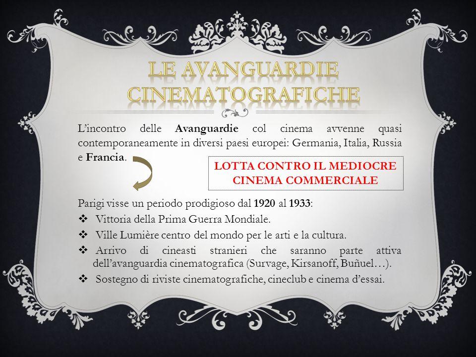L'incontro delle Avanguardie col cinema avvenne quasi contemporaneamente in diversi paesi europei: Germania, Italia, Russia e Francia. Parigi visse un
