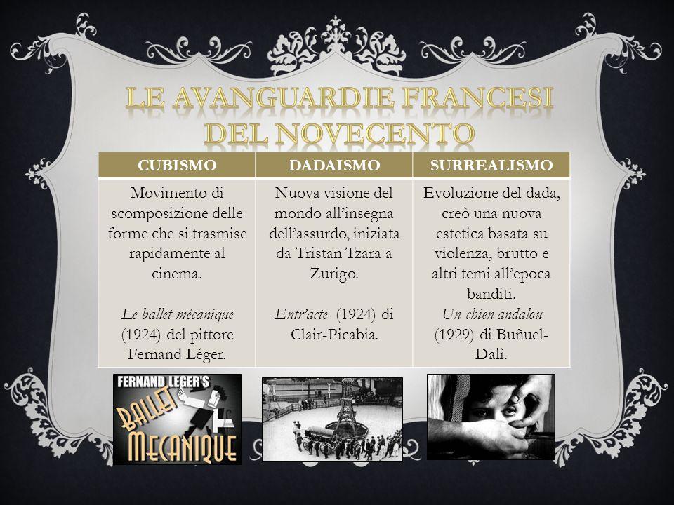 Movimento cinematografico dei primi anni Venti che comprendeva un gruppo di registi francesi (Prima Avanguardia ≠ Seconda Avanguardia) portatori di una nuova forma espressiva basata sul concetto di FOTOGENIA elaborato da Louis Delluc.
