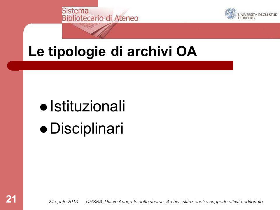 24 aprile 2013DRSBA. Ufficio Anagrafe della ricerca, Archivi istituzionali e supporto attività editoriale 21 Le tipologie di archivi OA Istituzionali