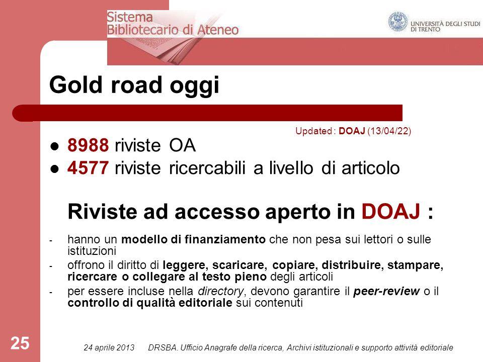 24 aprile 2013DRSBA. Ufficio Anagrafe della ricerca, Archivi istituzionali e supporto attività editoriale 25 Gold road oggi 8988 riviste OA 4577 rivis