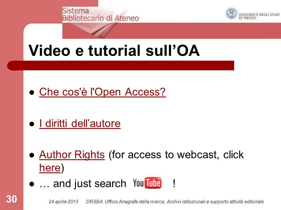 24 aprile 2013DRSBA. Ufficio Anagrafe della ricerca, Archivi istituzionali e supporto attività editoriale 30 Che cos'è l'Open Access? I diritti dell'a