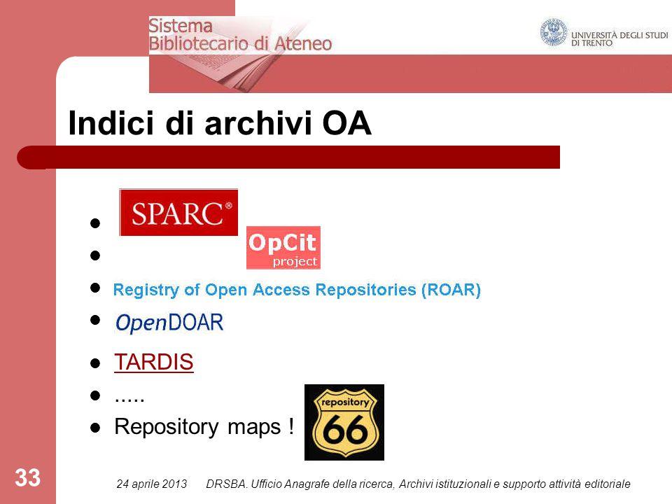 24 aprile 2013DRSBA. Ufficio Anagrafe della ricerca, Archivi istituzionali e supporto attività editoriale 33 Indici di archivi OA TARDIS..... Reposito