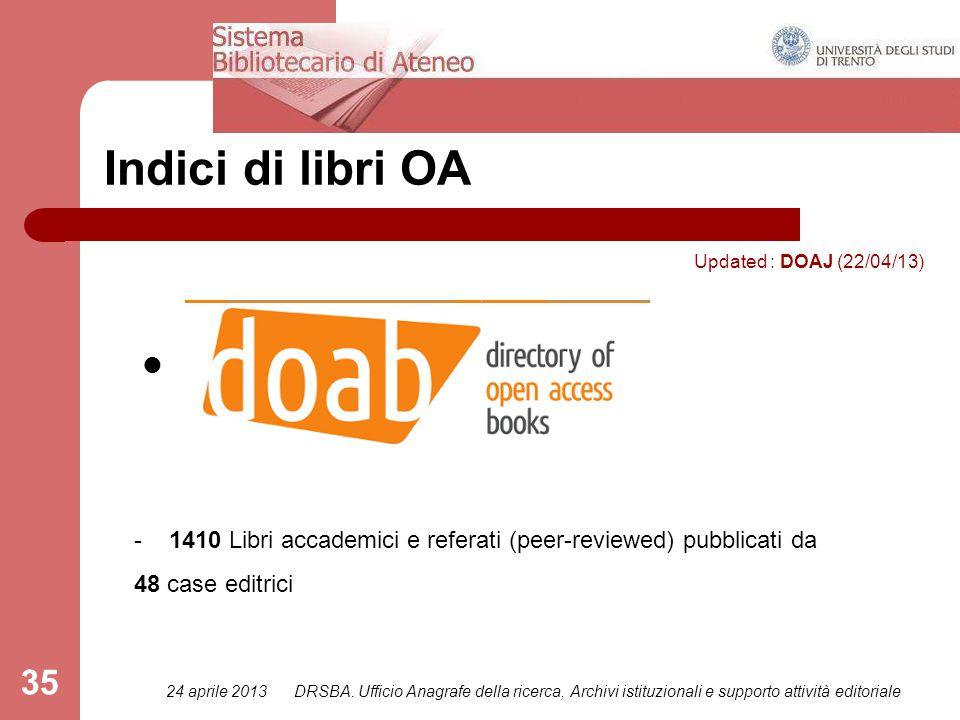 24 aprile 2013DRSBA. Ufficio Anagrafe della ricerca, Archivi istituzionali e supporto attività editoriale 35 Indici di libri OA Updated : DOAJ (22/04/