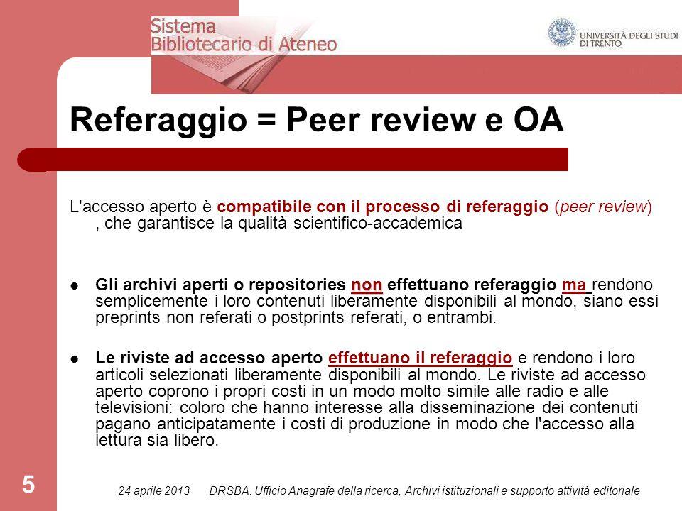 24 aprile 2013DRSBA. Ufficio Anagrafe della ricerca, Archivi istituzionali e supporto attività editoriale 5 Referaggio = Peer review e OA L'accesso ap