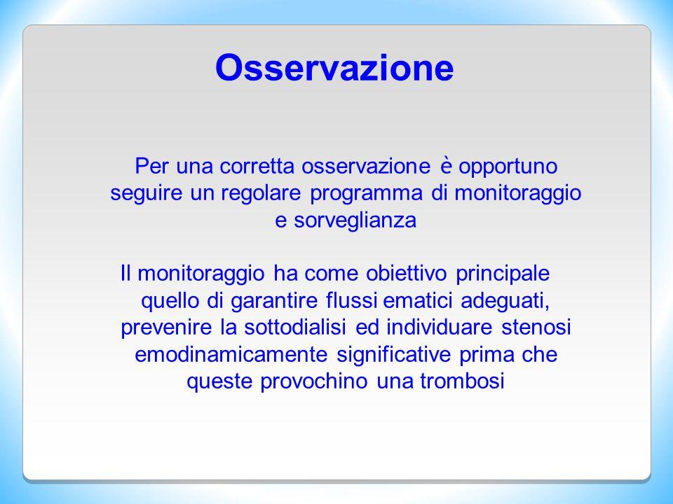 Osservazione Per una corretta osservazione è opportuno seguire un regolare programma di monitoraggio e sorveglianza Il monitoraggio ha come obiettivo
