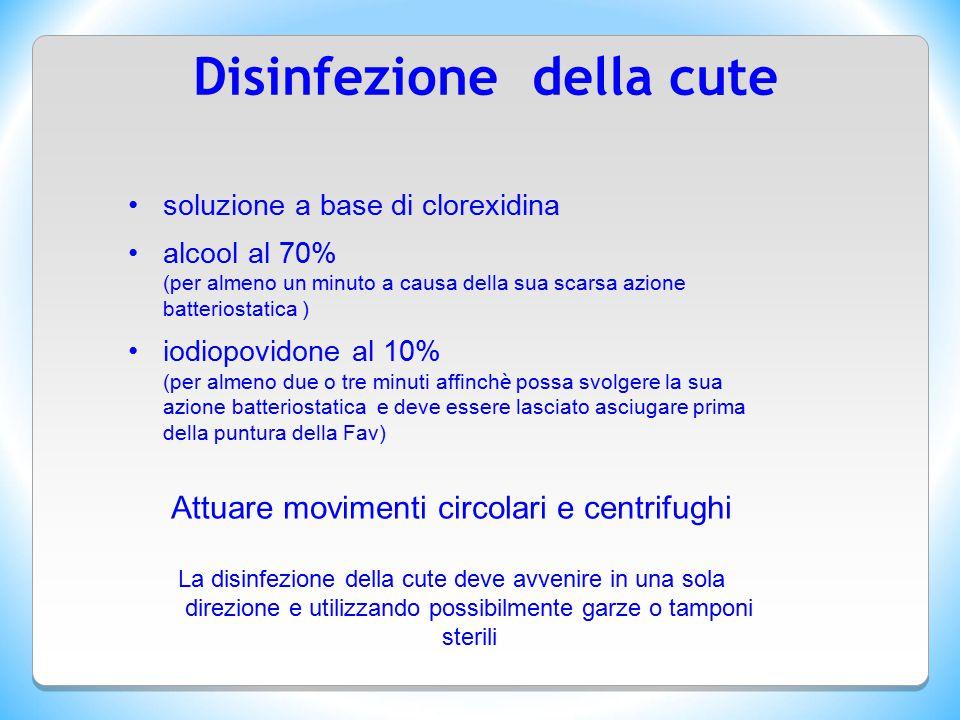 Disinfezione della cute soluzione a base di clorexidina alcool al 70% (per almeno un minuto a causa della sua scarsa azione batteriostatica ) iodiopov