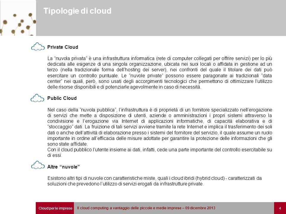 """Cloud per le imprese 4 Il cloud computing a vantaggio delle piccole e medie imprese – 09 dicembre 2013 Tipologie di cloud Private Cloud La """"nuvola pri"""