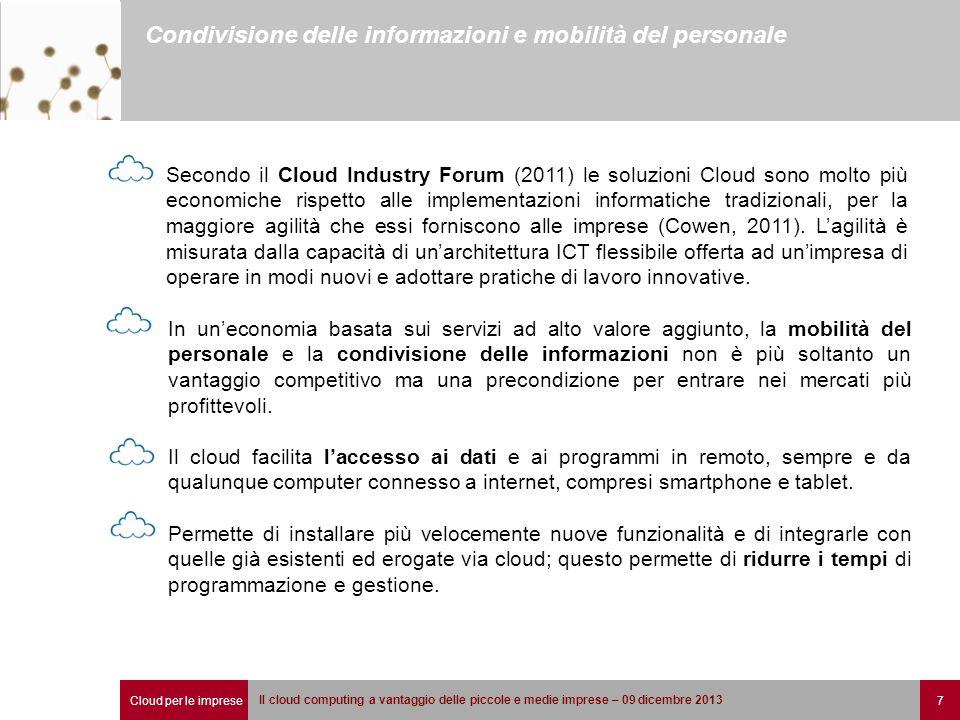 Cloud per le imprese 7 Il cloud computing a vantaggio delle piccole e medie imprese – 09 dicembre 2013 Condivisione delle informazioni e mobilità del