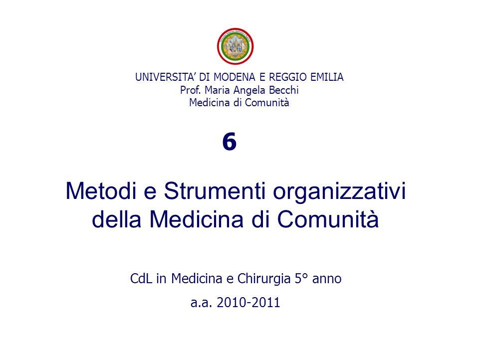 UNIVERSITA' DI MODENA E REGGIO EMILIA Prof. Maria Angela Becchi Medicina di Comunità Metodi e Strumenti organizzativi della Medicina di Comunità CdL i