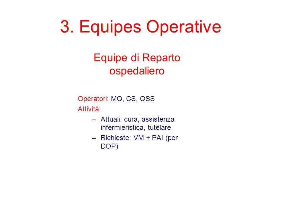 3. Equipes Operative Equipe di Reparto ospedaliero Operatori: MO, CS, OSS Attività: –Attuali: cura, assistenza infermieristica, tutelare –Richieste: V