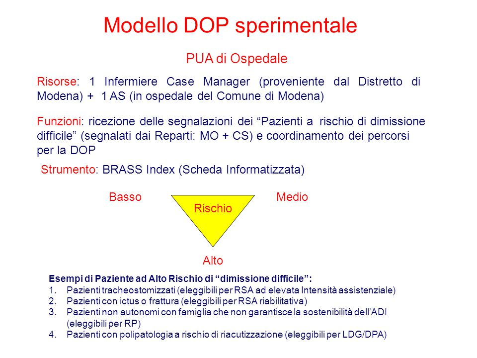 """Modello DOP sperimentale PUA di Ospedale Rischio Alto Esempi di Paziente ad Alto Rischio di """"dimissione difficile"""": 1.Pazienti tracheostomizzati (eleg"""