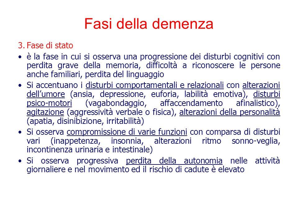 Fasi della demenza 3.Fase di stato è la fase in cui si osserva una progressione dei disturbi cognitivi con perdita grave della memoria, difficoltà a r